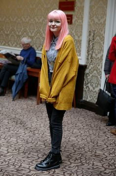 The Street Style Carousel › Street Style Snaps Yellow Tights, Peplum Jacket, Matalan, Blue Cardigan, Style Snaps, Life Magazine, Carousel, Leather Jacket, Street Style