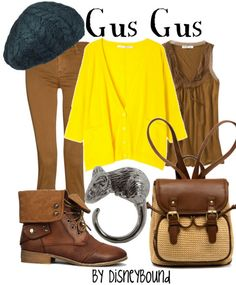 i gus gus so this outfit is amazing by disneybound Disney Character Outfits, Disney Themed Outfits, Character Inspired Outfits, Disney Bound Outfits, Disney Dresses, Disney Clothes, Cute Disney, Disney Style, Disney Inspired Fashion