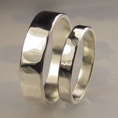 Recycled Palladium Sterling Silver Wedding Bands Set by artifactum, $185.00