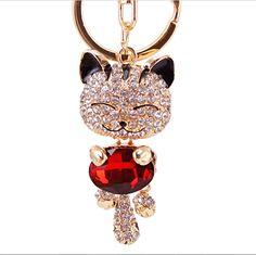 Cat Rhinestone Metal Keychain
