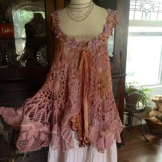 Luv Lucy Crochet Tunic Lucy's Vintage Plums by LuvLucyArtToWear Form Crochet, Crochet Tunic, Crochet Clothes, Moda Vintage, Vintage Lace, Boho Outfits, Vintage Outfits, Altered Couture, Recycled Fashion