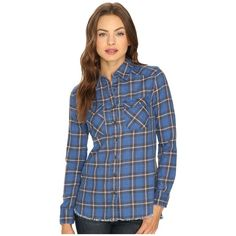 Billabong Flannel Frenzy Top (Sapphire Blue) Women's Long Sleeve... ($50) ❤ liked on Polyvore featuring tops, blue button down shirt, long-sleeve shirt, long sleeve button down shirts, plaid shirts and long sleeve button up shirts