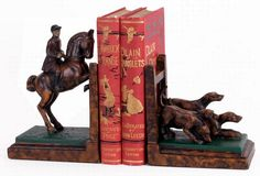 Foxhunting Bookends. Made in the USA, from Horse and Hound. $129