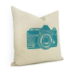 Camera pillow case - Teal blue vintage camera print on natural cotton canvas  via Etsy.