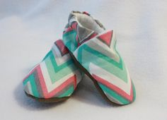 girls blue and coral chevron shoes by TheTinyDictator on Etsy