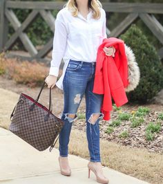 Ripped jeans and heels, nude pumps, Louis Vuitton Neverfull, red soles. Christian Louvoutin, white collard shirt, preppy, classic, simple outfit inspiration, Christmas outfit ideas, red winter coat.