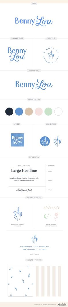 Brand board and logo design by Aeolidia for Benny + Lou. A logo and brand identi… Brand board and logo design by Aeolidia for Benny + Lou. A logo and brand identity design for an online children's clothing boutique with a classic, yet playful style. Web Design, Store Design, Graphic Design, Design Case, Baby Boden, Graphic Pattern, Inspiration Logo Design, Design Ideas, Clothing Logo