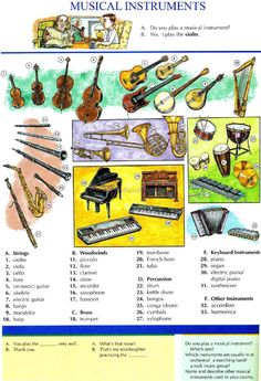 108 - MUSICAL INSTRUMENTS - Pictures dictionary - English Study, explanations, free exercises, speaking, listening, grammar lessons, reading, writing, vocabulary, dictionary and teaching materials
