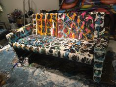 Painted Sofa! #art #cadzand #thejane #purec #sergioherman #sofa #interior #antwerp www.mygalleries.be @sergioherman @syrcobakker
