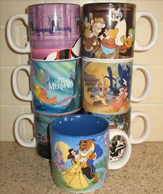 Love these vintage Walt Disney World coffee mugs for their classic Disney movie themes, the colourful interiors and because they stack! They're on eBay for between $24.95 and $39.95. #coffeemugs #disney #ck
