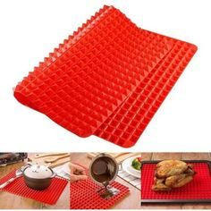 Silicone Baking Mat Red Pyramid Pan Surface Non-Stick Heat Resistant Healthy Cooking Tray Fat Reducing Sheet Oven Liner Set 16 Inches X Inches by EG Barbecue Grill, Mini Muffins, Red Pyramid, Four Micro Onde, Smart Kitchen, Kitchen Tools, Awesome Kitchen, Kitchen Stuff, Kitchen Mat