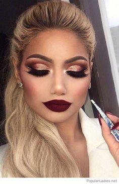blonde-ponytail-and-burgundy-lips