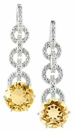 Carnival Citrine Earrings By Nigel Milne 10 5mm Circular Orange And Diamond Triple Hoop Drop Set In 18ct White Gold Overall Length Of