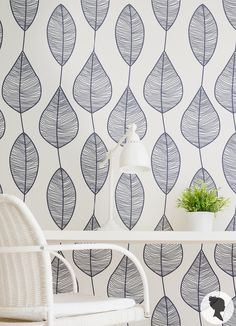Stripy Leaf Pattern Self Adhesive Removable Wallpaper by Livettes Stick On Wallpaper, Fabric Wallpaper, Wall Wallpaper, Adhesive Wallpaper, Wall Murals, Wall Art, Geometric Wallpaper, Modern Wallpaper, Wall Treatments