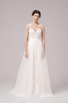 romantisches Brautkleid mit Spitze, weißes Hochzeitskleid
