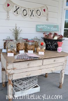 Love Love Love this idea for a baby or bridal shower. Maybe for baby girls first birthday party! {Cookies & Milk Shower}