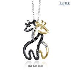 Genuine Black & White Diamond Accent Double Giraffe Pendant in Sterling Silver at 90% Savings off Retail!
