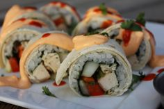 Cheater Chicken Sushi Roll-Ups. Instead of raw fish, use grilled chicken. Add the fresh vegetables, sticky rice and delicious Sushi dipping sauces and you will be in American-Japanese culinary heaven. Simple to make and a blast to eat! Sushi Recipes, Healthy Dessert Recipes, Asian Recipes, Snack Recipes, Cooking Recipes, Ethnic Recipes, Asian Foods, Rice Recipes, Chicken Sushi