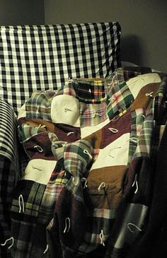 Big warm quilt made with upcycled flannel and corduroy shirts. I love the homey feel of it with the white ties.