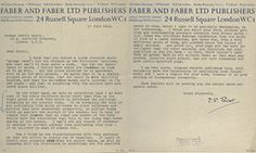 'It ought to excite some sympathy with what the author wants ' … TS Eliot's letter to George Orwell.