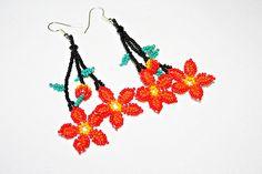 Native American Earrings Huichol Earrings Beadwork Huichol Art Mexican Jewelry 3D Flower Dangling Hippie Jewelry Hippie Earrings Authentic