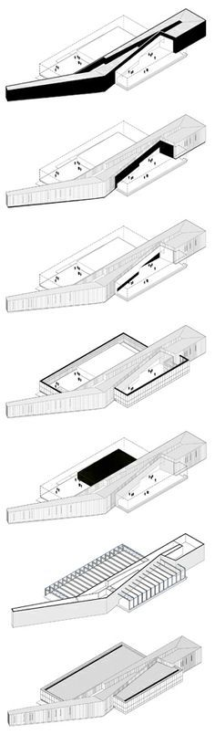 architecture axonometric diagrams _ part4 CAD 3D IZ MODELA, BOJENJE RAMPE, STEPENIŠTA, ULAZA, ...