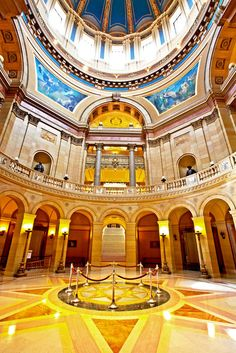 My dad painted the gold leafing on the ceiling of the Capitol dome.  The Minnesota State Capitol boasts a huge rotunda with beautiful architecture.