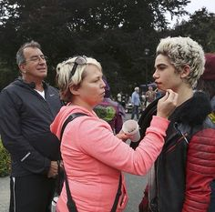 Cameron Boyce getting the chocolate on his face done