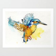Kingfisher Art Print by Abby Diamond ink and watercolour