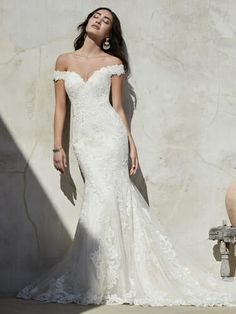 Sottero & Midgley Kennedy wedding dress,An off-the-shoulder lace wedding dress is exceptionally elegant. A double-lace train is exceptionally extravagant Perfect Wedding Dress, Dream Wedding Dresses, Designer Wedding Dresses, Bridal Dresses, Wedding Gowns, Modest Wedding, Anna Campbell, Sottero And Midgley Wedding Dresses, Sottero Midgley