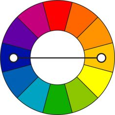 Complementary colors: combining a shade, tint, or tone of one color and the color opposite on the wheel.