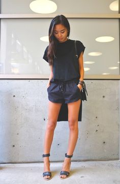 Brandy Melville T-Shirt Dress || Zara suede shorts || Zara messenger bag || Loeffler Randall sandals (similar) Photos by: Jason Hill