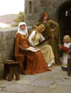 Townspeople npc urban By Edmund Blair Leighton. Green dress looks completely disinterested, but I love her dress, brown dress looks super bored and baby has a scary ass doll Art And Illustration, Images Esthétiques, Pre Raphaelite Paintings, Portrait, Renaissance Kunst, Medieval Paintings, Art Ancien, Historical Art, Art Moderne