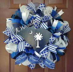 Palmetto State deco mesh wreath,  South Carolina state deco mesh wreath