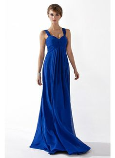 Dark Royal Blue A Line Straps Empire Waist Chiffon Ruffled Evening Dress