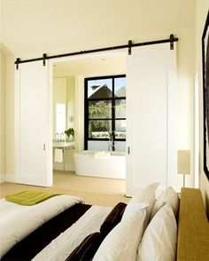 Installing interior barn door hardware can transform the look of your room. Read these steps in buying interior barn door hardware. Interior Flat, Interior And Exterior, Interior Design, Modern Interior, Interior Balcony, Stylish Interior, Barn Door Decor, Interior Sliding Barn Doors, Sliding Doors