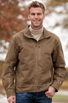 Men's Kuhl Burr Zip-Front Canvas Jacket by Overland Sheepskin Co. (style 38907)