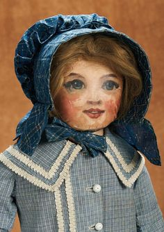 Large American Cloth Folk Doll with Oil-Painted Features. Late 19th century. http://Theriaults.com