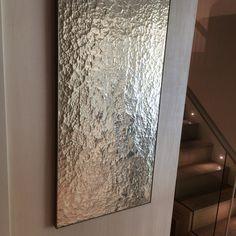 Handmade glass, watergilded by Stuart Fox Ltd in 12ct white gold leaf. Platinum painted solid ash trimless frame. Bespoke artwork for private residence. info@stuartfox.co.uk