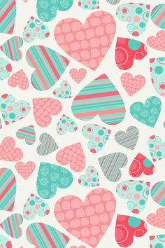 A blue and pink heart wallpaper from the app cocoppa download it it's super fun and cute