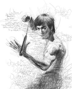 Artist Vince Low has turned once-aimless doodling into Scribble Art, which is an advanced art form of penmanship. Described as Scribbles with life, Vince Low's works are invariably in portrait form. Arte Bruce Lee, Vince Low, Art Du Monde, Scribble Art, Figurative Kunst, Martial Artist, Celebrity Portraits, Oeuvre D'art, Graphic