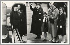 Koningin Juliana en prins Bernhard keren terug uit het Caribisch gebied. Prinses Wilhelmina en de vier prinsessen begroeten hen op Schiphol