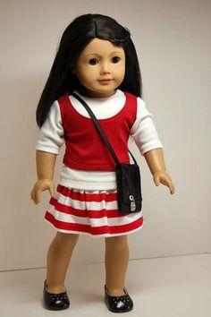 Idea---American Girl Doll ClothesSkirt Shirt Tank Top by sewurbandesigns, $24.00