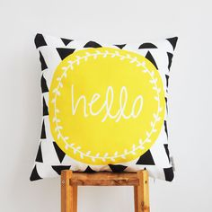 Geometric Pillow Yellow Kids Pillow Decorative by LoveJoyCreate, $36.00