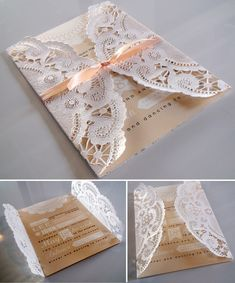 Wedding invitations are one of my favorite things to do. And since invites go out two months ahead of time, this is my crazy time! I have two brides this season that are using doilies as part of the invite. I'm in LOVE with them both and they give a simple invite a very sweet and delicate look. I'm NOT in love with all the tiny cutout pieces they leave all over my house, though...