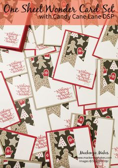 One Sheet Wonder Card Set with Candy Cane Lane DSP - Uses 2 sheets and make more cards. Diy Holiday Cards, Christmas Cards To Make, Xmas Cards, Greeting Cards, Candy Quotes, One Sheet Wonder, Stamping Up Cards, Rubber Stamping, Stampin Up Christmas