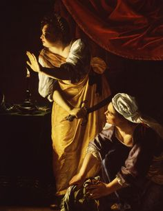 """Judith and Maidservant with the Head of Holofernes"", Artemisia Gentileschi…"