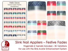 Second Life Marketplace - Hello Dave - Slink Avatar Enhancement Nail Appliers - Festive Fades
