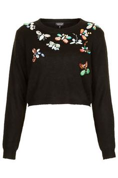 Knitted Butterfly Crop Jumper