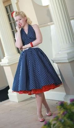 vintage style blue with white polka dots and peek-a-boo red tulle.